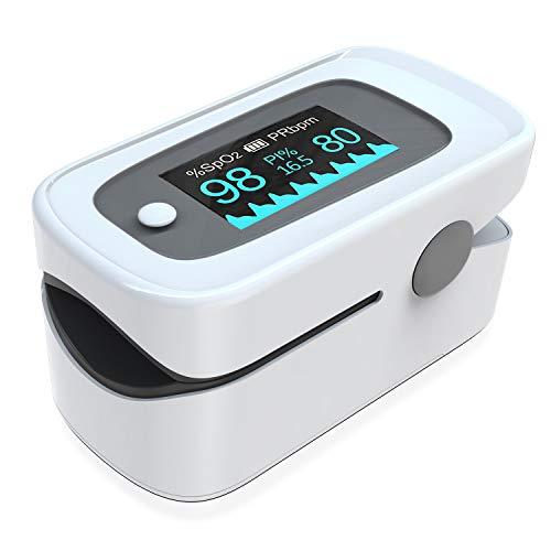 Pulsoximeter,Fingerpulsoximeter,Oximeter mit Alarm ideal zur schnellen Messung der Sauerstoffsättigung (SpO2)-Einfacher Pulsmesser für Kinder & Erwachsene–OLED Anzeige die sich mitdreht-Touch Display