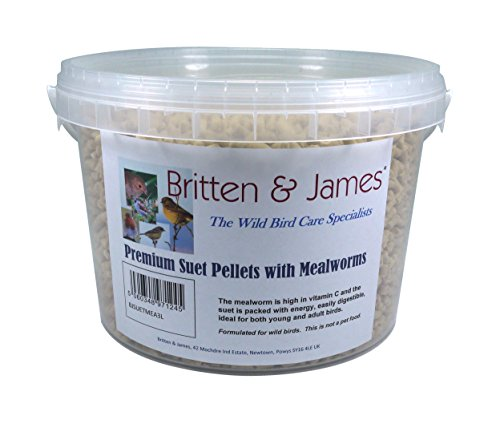 Britten & James Premium Suet Pellets con Las Grasas DE MEALWORMS. Un excelente suplemento de energía para Aves Silvestres en una bañera de 3 litros con Cierre hermético.