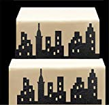CakeSupplyShop Scenic Theme Stick On / Lay On Cake Border Decoration Toppers (Super Hero Lighted City Backdrop)