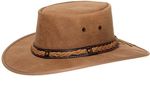 Barmah Hats Barmah 1022 Squashy Bronco Cooper Crossing Lederhut aus Australien + Kinnriemchen | Beige/Hickory | Size L