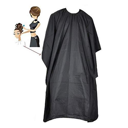Tissu De Coiffure Main Noir Salon Barbiers Cape Robe De Coiffure Coupe De Cheveux Tissu Imperméable Robe F (Color : Black)