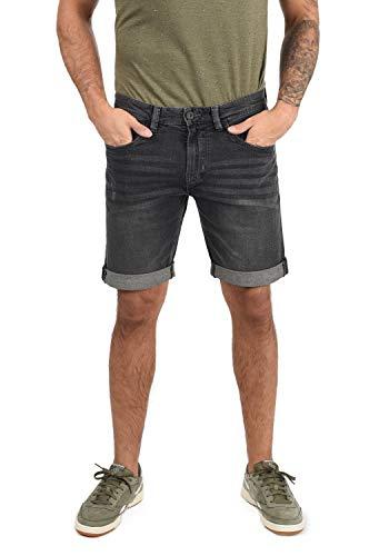 Indicode Quentin Herren Jeans Shorts Kurze Denim Hose Mit Destroyed-Optik Aus Stretch-Material Regular Fit, Größe:L, Farbe:Dark Grey (910)