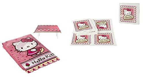 ALMACENESADAN 1119, Pack Mantel y servilletas Hello Kitty, Compuesto por Mantel Fiesta de plástico 120x180 cm y Pack de 20 servilletas de Papel