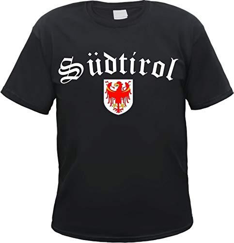 Südtirol Herren T-Shirt - Schwarz oder Weiss - mit Wappen - Schwarz M