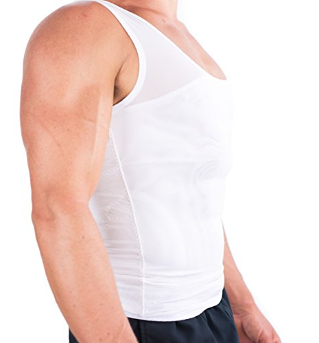 『(Large, White) - Esteem Apparel Original Men's Compression Shirt to Hide Gynecomastia Moobs Chest Slimming Body Shaper Undershirt』の2枚目の画像