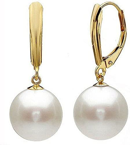 14mm White Round South Sea Shell Pearl 14K Gold Plated Earrings AAA+