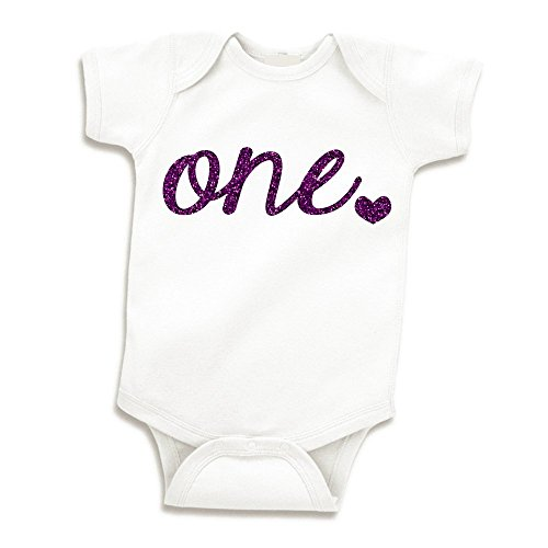Baby Girl First Birthday Outfit Girls One Year Old Birthday Shirt (Glitter Purple 12-18 Months)