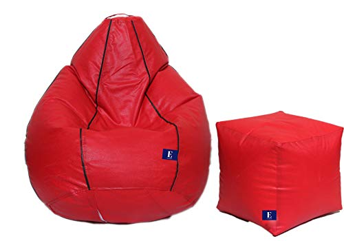 EuroShop Super Comfy Leatherette Bean Bag and Puffy Cover (Set of 2, Without Beans)