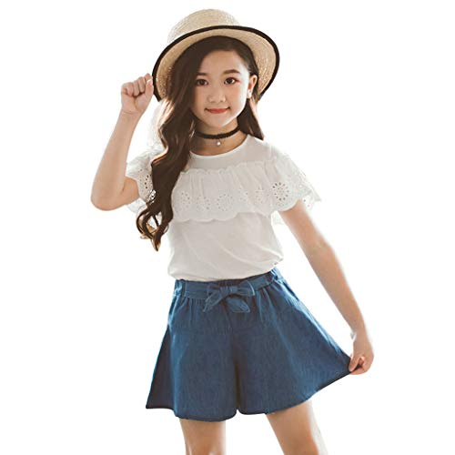 10-12 Years Old Girls Outfits Suits, Children Kids Baby Solid Lace Ruffles Tops Tee Bow Shorts Jeans Outfits White