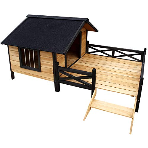 Extra Large Wooden Timber Pet Dog Kennel Raised Floor Moisture-Proof Waterproof Big House Porch Patio Outdoor Winter