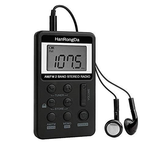 Mini Radio Tascabile AM/FM Radio Portatile Achort Pocket Ricevitore Personale Digitale Radio con Ricaricabile Batteria e Cuffie per Camminare Jogging