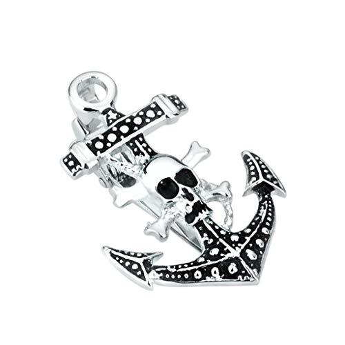ZCX Messing Vintage Skull Anchor Kragen-Männer Blackened Ölkrawattenklammer Manschettenknöpfe Krawattennadeln