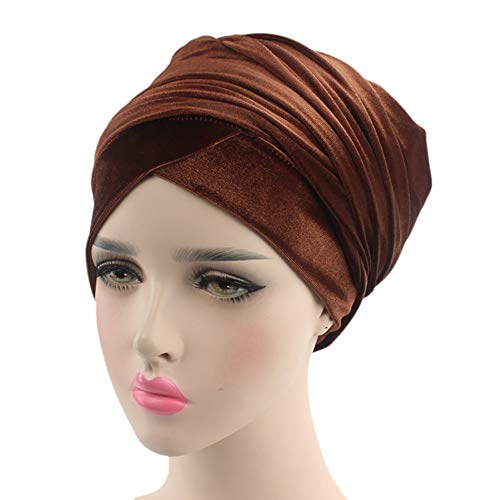QCLU Luxury Pleated Velvet Magic Turban Hijab Head Wrap Extra Long Tube Indian Headwrap Scarf Tie (Color : Coffee)