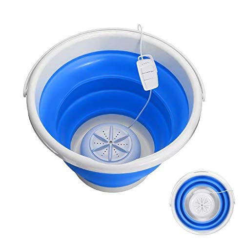 TOPQSC Lavadora portátil mini turbo plegable con USB para viajes, lavandería, camping, hogar, viajes de negocios y lavandería infantil