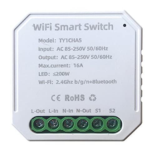 MHCOZY Interruttore WiFi Wireless Relè Modul, DIY Smart Home Switch con App Tuya Smart Life Telecomando Bluetooth compatibile con Alexa Google Home, 1/2 vie, 16 A