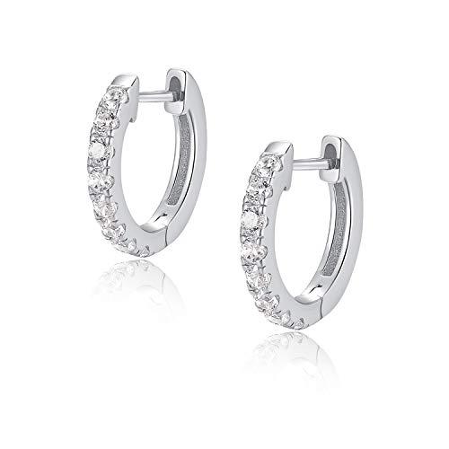 Jewlpire 925 Sterling Silver Huggie Hoop Earrings for Women Girls - 18K White Gold Plated Diamond Cut AAAAA+ CZ Sparkle Hoop Earrings Cuff Stud, Hypoallergenic Girls Cartilage Earrings - Silver