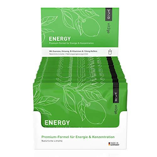 Vit2go ENERGY - Energy Pulver Getränk mit Koffein Shot (124 mg), Taurin und Guarana, Energie Getränkepulver gegen Müdigkeit, Konzentration Booster mit Vitamin B Komplex (30 Sachets)
