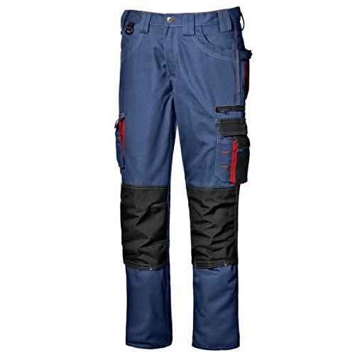 Pantalone da lavoro pantalone multitasche lavoro uomo lunghi Harrison colore blu avio taglia 44-58 realizzato in poliestere e cotone Broken Twill marca Sir safety sistem 44, Blu avio