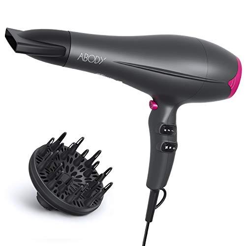 Haartrockner, Abody 2200W AC-Motor Ionen Haartrockner, Profi Fön mit Kalte Taste 2 Geschwindigkeiten 3 Heizstufen, Haarfön mit Diffusor Stylingdüse, Föhn für Familie und Haarsalon