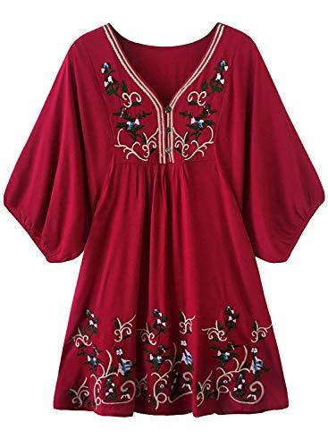 FUTURINO Damen Sommerkleid Bohemian Stickerei Floral Tunika Shift Bluse Flowy Minikleid,01 Burgundy,M