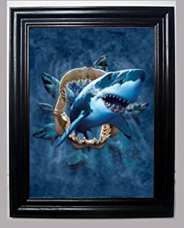 Those Flipping Pictures Shark 3D Framed Wall Art-Lenticular Technology Causes The Artwork to Have Depth and Move-Hologram Style Images-Holographic Optical Illusions
