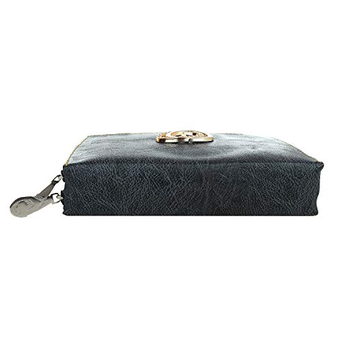 Ma-belle PU Leatherite Printed Clutch, PU Leatheriterse and Wallet For Women - Black