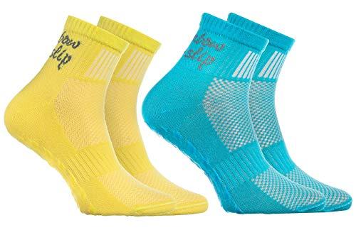 Rainbow Socks - Niño Niña Deporte Calcetines Antideslizantes ABS de Algodón - 2 Pares - Turquesa Amarillo - Talla 30-35