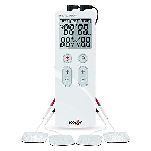 Tens Unit Muscle Stimulator Pulse Massager Combination, Ulaif Best Professional Portable 22 Modes Electronic Pulse Massager, Pain Relief, 2Channels Output, Rechargeable tens Unit, 4 Long Life Pads