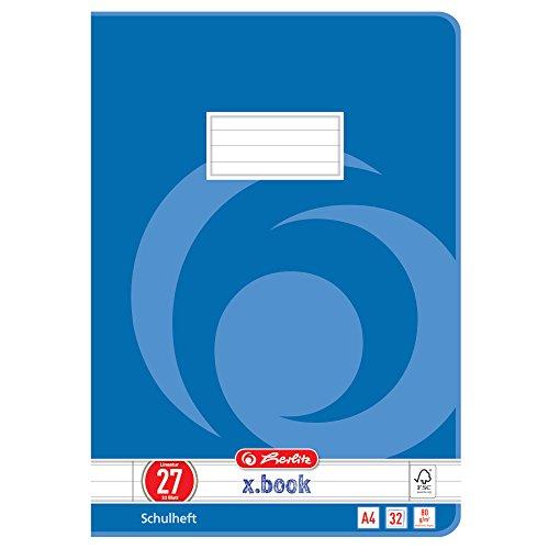 Herlitz 340273 Heft A4, 32 Blatt, Lineatur 27, FSC Mix, 5 Stück