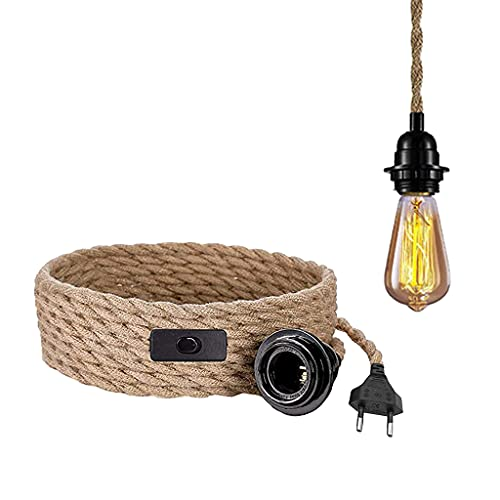 Lámpara de techo con interruptor, cable de lámpara vintage con 4,5 metros de cuerda de cáñamo, portalámparas E27, lámpara de techo, bar, base, granja, almacén, sin bombilla (1 unidades)