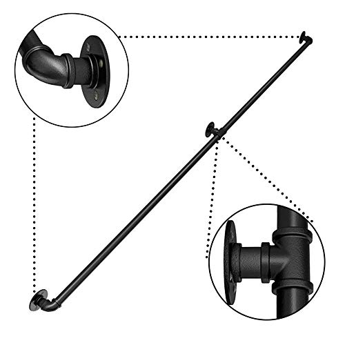 Black Wrought Iron Pipe Handrail, Industrial Wind Home Indoor and Outdoor Corridor Loft Old Man Safety Anti-Skid Railing 9ft