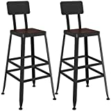 MTYLX Bar, Café, Silla de Restaurante, On-Trend Kitchen And Breakfast Barstool Silla de Bar Silla Doble High Staur Bistro Pub Café Contador Retro Estilo Industrial,Conjunto de 2