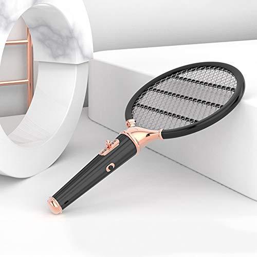 Raqueta Caza Mosquitos, Swatter Matamoscas Raqueta Eléctrica Plagas Insectos Asesino Repelente, USB...
