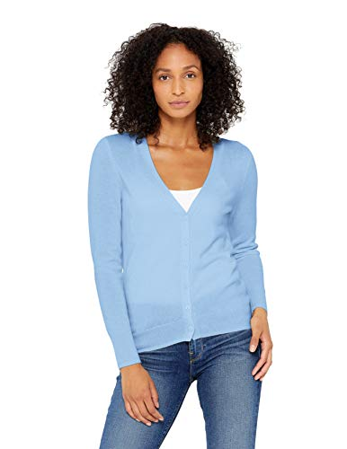State Cashmere Women's 100% Pure Cashmere Button Front V-Neck Cardigan Long Sleeve Sweater (X-Small, Baby Blue)