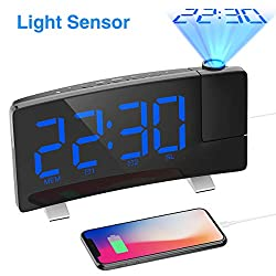 iRedBeau Projection Alarm Clock,7 Curved-Screen Large Digital Display,Adjust Brightness Automatically,Dual Alarm Clock with 2 Alarm Sounds,FM Radio,USB Phone Charger,Suitable for Night (Blue)