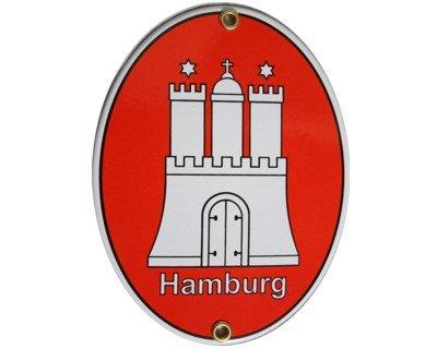 Hamburg HH Emaille Schild Hamburg 11,5 x 15 cm Emailschild Oval.