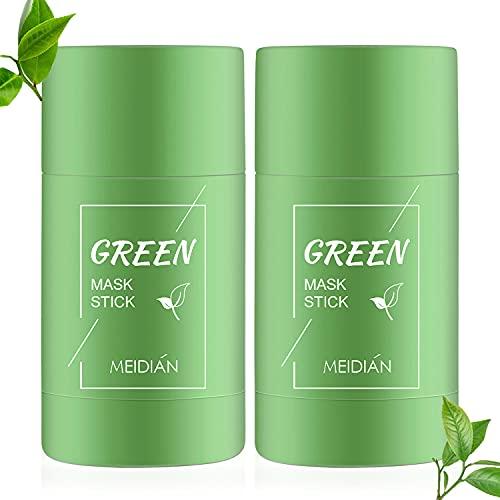 2Pcs Grüner Tee Purifying Clay Stick Mask Ölkontrolle Gesichtsmaske, Green Mask Stick Deep Cleansing Anti-Akne Solid Mask Mitesserentferner, Geeignet für Frauen und Männer aller Hauttypen