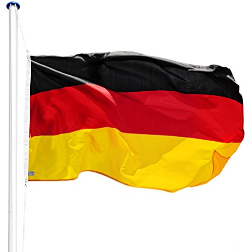 TecTake Mástil para Bandera 6,25 m con Bandera y Cuerda Palo asta Aluminio - Varios Modelos - (Alemania | no. 402125)