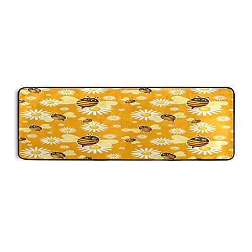 ALARGE - Alfombrilla antideslizante para el piso de cocina, diseño de abejas, flores, antideslizante, para sala de estar, pasillo, dormitorio, baño, entrada, interior y exterior, lavable, 2 x 6 pies