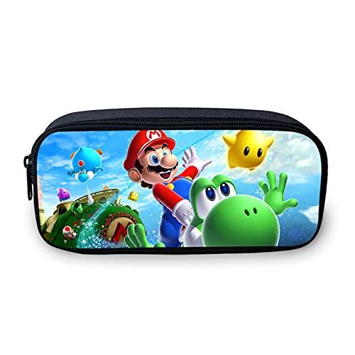 Sonic Hat Super Mario - Estuche para lápices de anime con soporte para lápices de maquillaje para niñas y niños, con cremallera, multifunción, caja de estudio