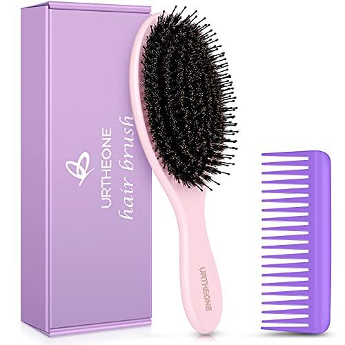 Hair Brush Boar Bristle Hair Brushes for Women Men Kids , Detangler Hair Brush for Curly Thick Fine Natural Long Short Dry Hair,No Pulling,Add Shine Texture (Purple)
