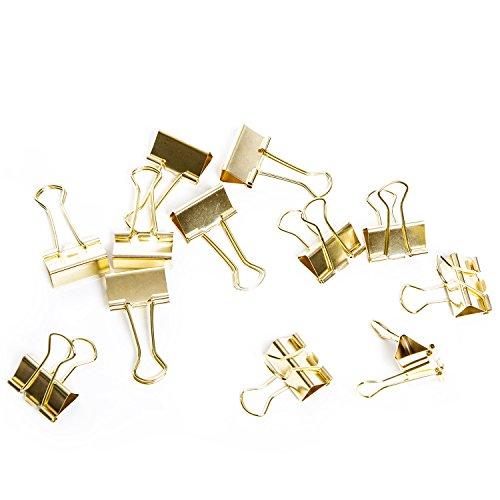 Logbuch-Verlag 12 kräftige Metall Klammern Dekoklammer Büroklammer gold-farben 25 mm Clip-Binder Foldback Verschluss Zierklammer Tischkarten-Halter