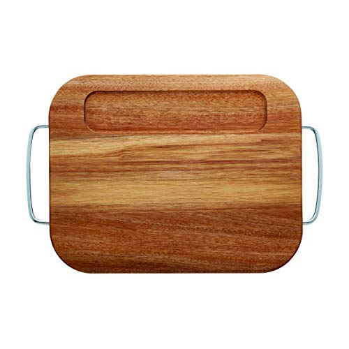 Farberware Cutting Board with Metal Handles, 11x14-inch, Acacia