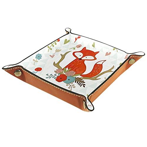 LXYDD Bandeja de Valet de Cuero Multiusos Caja de Almacenamiento Organizador de bandejas Se Utiliza para almacenar pequeños Accesorios,ilustración Vectorial de Zorro y Flores en Coche