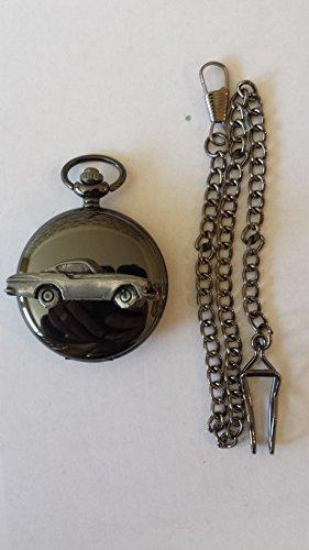 Volvo P 1800S ref279 emblema efecto peltre negro pulido caja regalo reloj de bolsillo bolsillo de cuarzo hecho en Sheffield