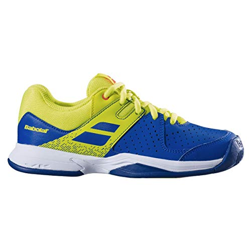 Babolat Kinder (Unisex) Pulsion Allcourtschuh Blau, Zitronengelb Tennisschuhe, Blue/Fluo aero, 32 EU