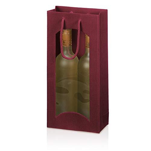 10 x Tragetasche, Weinverpackung, Flaschenverpackung - Focus bordeaux, 2 Flaschen