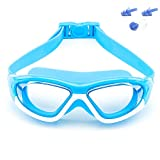 Big Frame Wide-Vision Swim Goggles for Children Girls Boys(Age 6-15), Premium Polarized Kids Swimming Goggles Diving Masks Anti Fog No Leaking UV Protection-with FREE Case,Nose Clip Ear Plugs