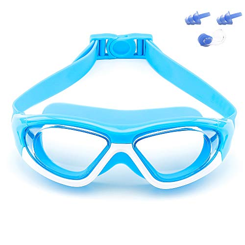 Big Frame Wide-Vision Swim Goggles for Children Girls Boys(Age 6-15 years old), Premium Polarized Kids Swimming Goggles Diving Mask Anti Fog No Leaking UV Protection-with FREE Case,Nose Clip Ear Plugs
