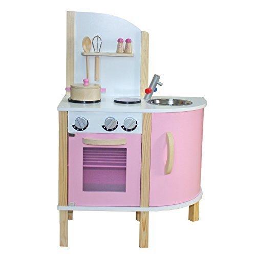 Best For Kids Kinderküche Spielküche rosa W10C070B aus Holz mit Zubehör Super Qualität aus MDF Platte